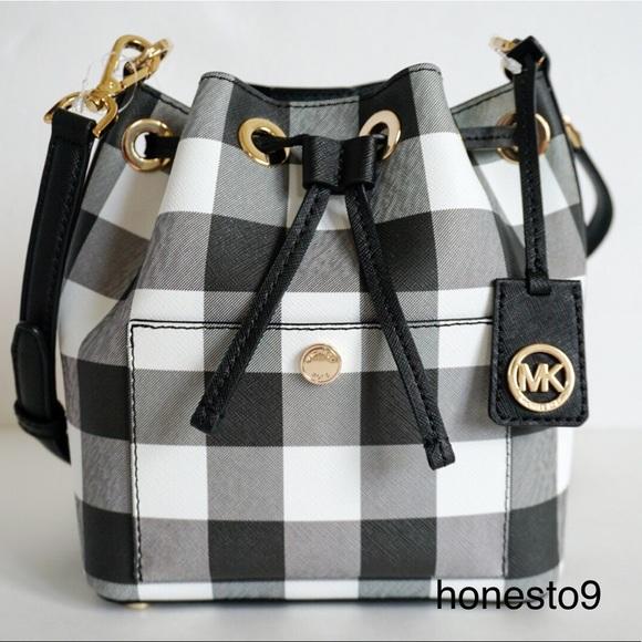 a3ab158262b0 Michael Kors Bags   Small Bucket Bag Black White Gingham   Poshmark